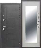 Дверь 10 см Троя Серебро МАКСИ зеркало Белый ясень