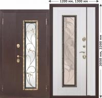 Входная дверь со стеклопакетом Плющ 1200х2050, 1300х2050 Белый ясень