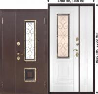 Входная дверь со стеклопакетом Венеция 1200 Белый ясень