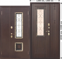 Входная нестандартная дверь со стеклопакетом Венеция 1200 Венге