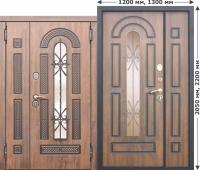 Входная дверь со стеклопакетом и ковкой Vikont 1200/1300х2050