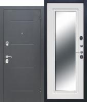 Дверь 7,5 см GARDA Серебро Зеркало Фацет Белый ясень